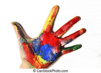 Beautiful vivid multicolored woman hand