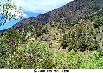 Beautiful volcanic landscapes on Canary Island La Palma