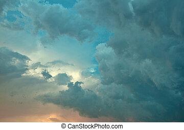 Beautiful volumetric cumulus clouds in sky