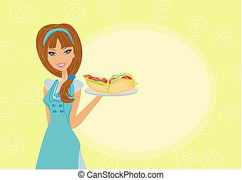 beautiful waitress - beautiful waitress with a tray...
