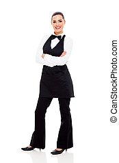 beautiful waitress full length portrait