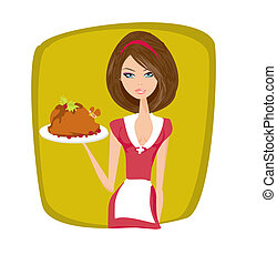 Waitress serving a chicken - Beautiful Waitress serving a...