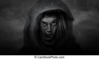 Beautiful warrior girl face in hood with an angry look....