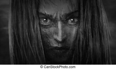Beautiful warrior girl face with an angry look. Animation in...