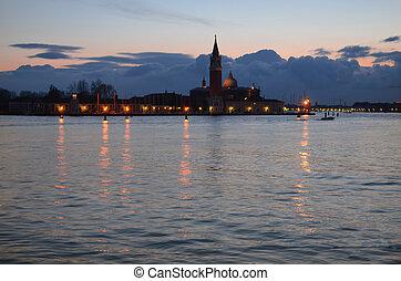 Beautiful water street - evening view Gulf of Venice, Italy