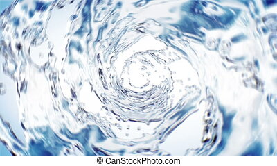 Beautiful Water Whirl Blue Color in Tube on White Background. Isolated Transparent Swirl 3d Animation with Alpha Matte. 4K UHD 3840x2160.