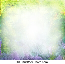 Beautiful watercolor background in soft green, yellow and purple- Great for textures and backgrounds for your projects!-