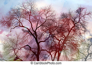 watercolor background tree