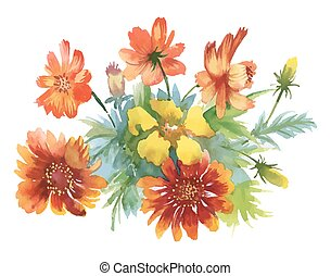 Beautiful watercolor colorful flowers on white background.