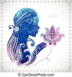 Beautiful watercolor Girl's silhouette  with some floral ornamen