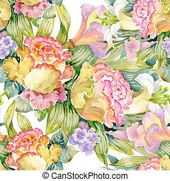 Beautiful Watercolor Summer Garden Blooming Flowers Seamless...