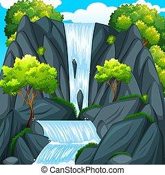 Beautiful waterfall and green trees