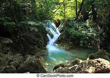 Beautiful Waterfall at Erawan National Park in Kanchanaburi ,Thailand.