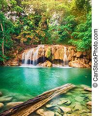 Beautiful waterfall at Erawan national park, Thailand