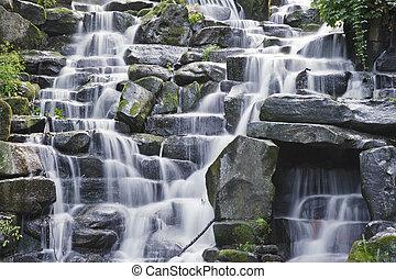 Waterfall cascades flowing over flat rocks in forest landscape