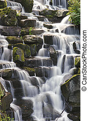Waterfall cascades flowing over flat rocks in forest landscape