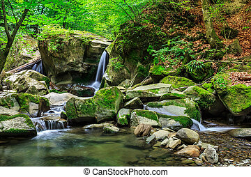 beautiful waterfall comes out of a huge rock in the forest -...