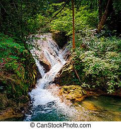 Beautiful waterfall. Erawan National Park in Kanchanaburi, Thailand
