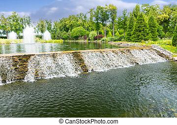 Beautiful waterfall in a park