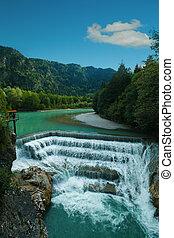 Beautiful Waterfall in Alps