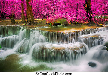 Beautiful waterfall in deep forest in Thailand