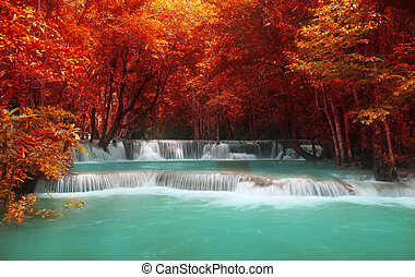 Beautiful waterfall in deep forest,Travel concept