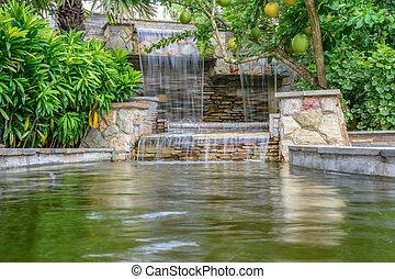 Beautiful waterfall in garden