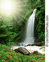 beautiful waterfall in the National Park Tercino valley in ...