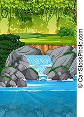 beautiful waterfall landscape scene