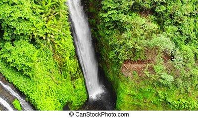 Beautiful waterfall on tropical island in Bali in rainforest jungle. slow motion.