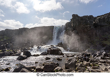 Beautiful waterfall Oxararfoss in Golden Circle, Iceland -...