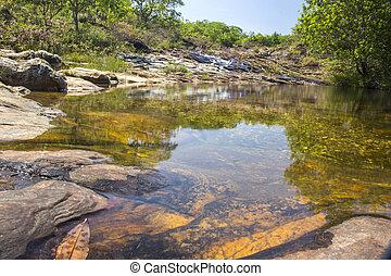 Beautiful waterfall - Serra da Canastra National Park -...