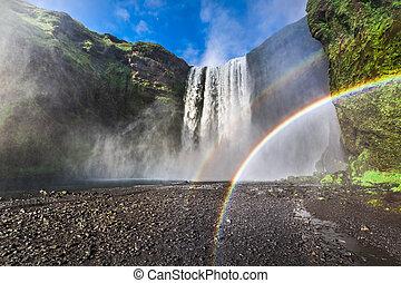 Beautiful waterfall Skogafoss in Iceland in summer