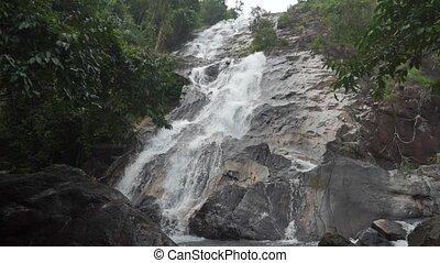 Beautiful waterfall slow motion video
