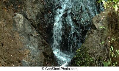 Beautiful Waterfall, Sungai Ruok, Malaysia - Close-up low-...