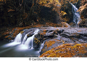 Beautiful Waterfall - Waterfall with orange and red colours...
