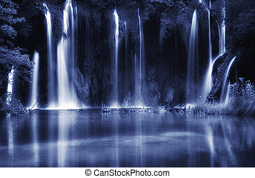 Beautiful waterfalls at Plitvice Lakes National Park , UNESCO World Heritage Center. Black and white toned photo