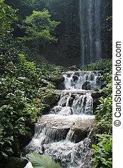 Beautiful waterfalls in national park in Singapore. Zoo