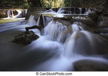 beautiful waterfalls in pure deep f