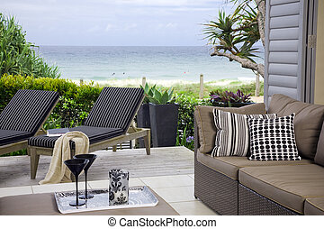beautiful waterfront suite with ocean and beach views