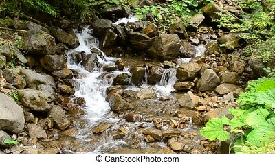 Beautiful waterscape with a fast stony mountain river in summer