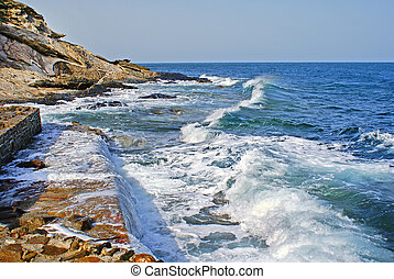 Beautiful waves as background located at Chalkidiki peninsula, Greece