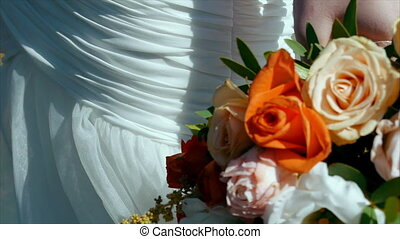 Beautiful wedding bouquet in hands of bride