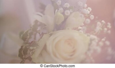 Beautiful wedding bouquet of flowers in blur white,...