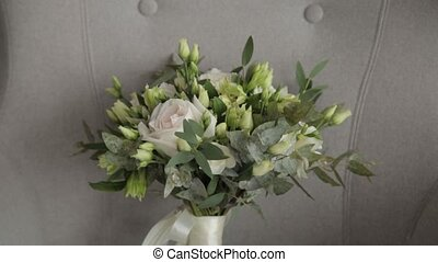 Beautiful wedding bouquet of fresh flowers