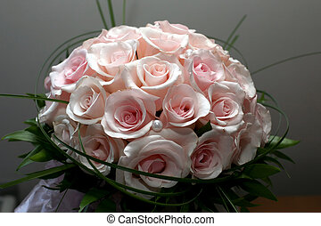 beautiful wedding bouquet of roses closeup