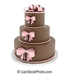 Beautiful wedding cake - A beautiful wedding cake on a white...