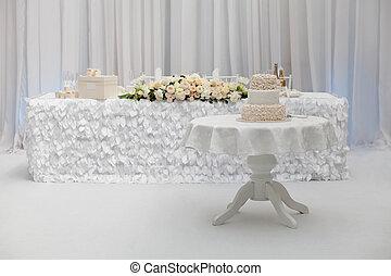 Beautiful wedding cake on the table