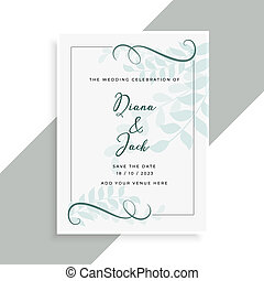 beautiful wedding card design with leaves pattern