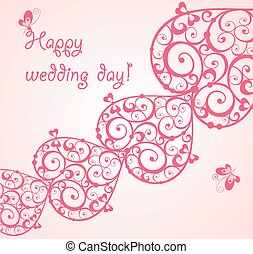 Beautiful wedding card with decorative hearts
